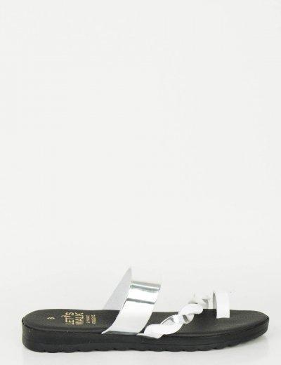 Γυναικεία λευκά ασημί Flat σανδάλια λουράκια  118118S
