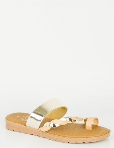 Γυναικεία χρυσά Flat σανδάλια λουράκια 118118G