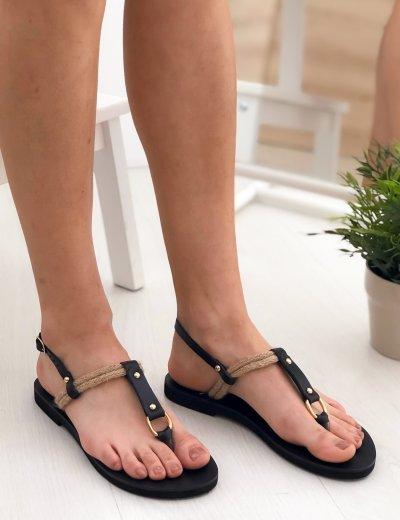Γυναικεία μαύρα flat πέδιλα με σχοινί 722900