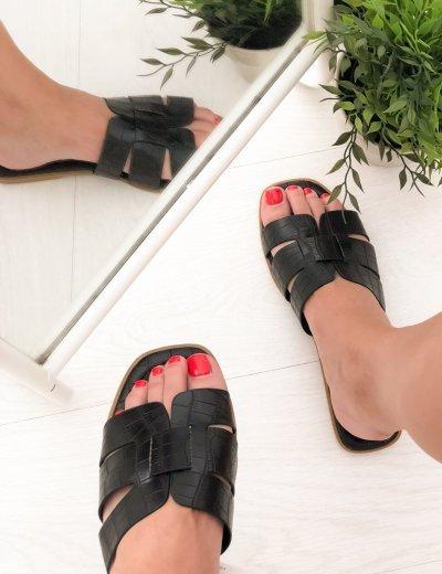 Γυναικείες μαύρες κροκό παντόφλες Y8898M