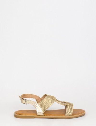 Γυναικεία χρυσά flat σανδάλια με σχέδιο PA371