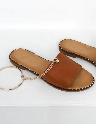 Γυναικείες κάμελ παντόφλες με αλυσιδάκι LS89