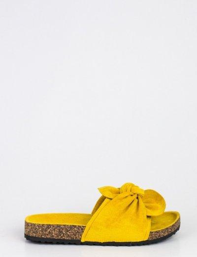 Γυναικείες κίτρινες σουέντ παντόφλες με φιόγκο MF7832L