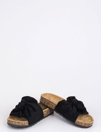 Γυναικείες μαύρες σουέντ παντόφλες με φιόγκο MF7832B