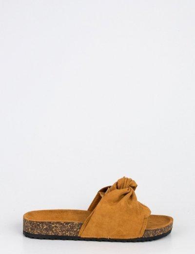 Γυναικείες κάμελ σουέντ παντόφλες με φιόγκο MF7832C