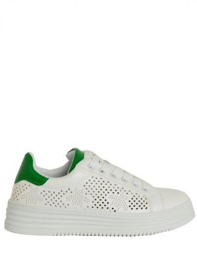 Γυναικεία Sneakers δερματίνη λευκά διάτρητο σχέδιο 51111C