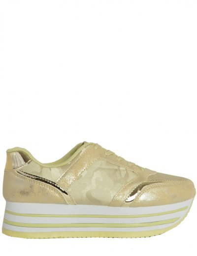 Γυναικεία Flatform Sneakers δίπατα χρυσά military 9227F