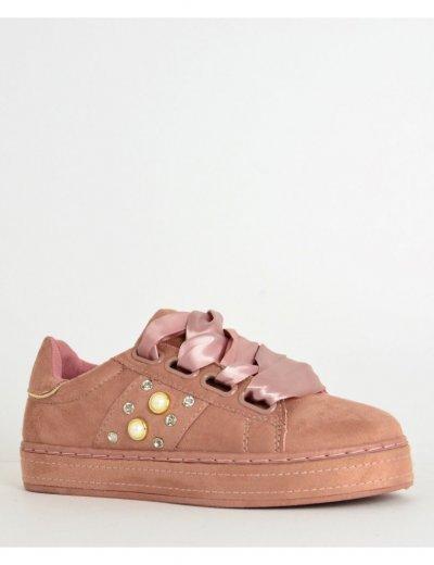 Γυναικεία Sneakers Suede με σατέν κορδόνια ροζ AD781R
