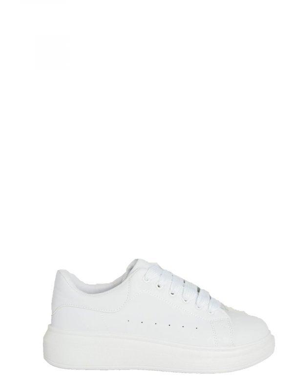 Ανδρικά λευκά δίσολα Sneakers λαστιχένια σόλα M723