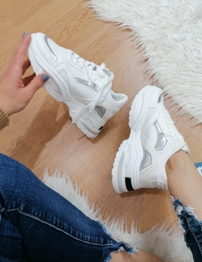 Γυναικεία λευκά δίσολα Sneakers PC56L