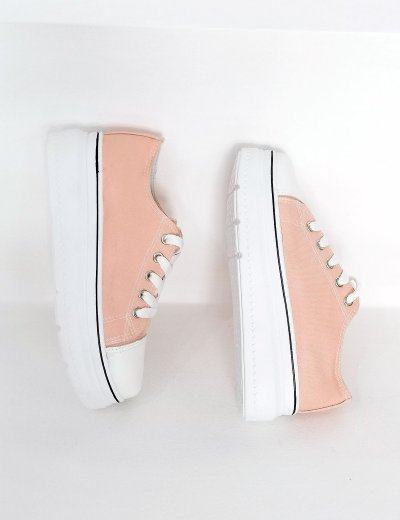 Γυναικεία ροζ δίσολα πάνινα Sneakers 2021165A