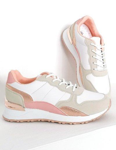 Γυναικεία ροζ Casual Sneakers διχρωμία 612130