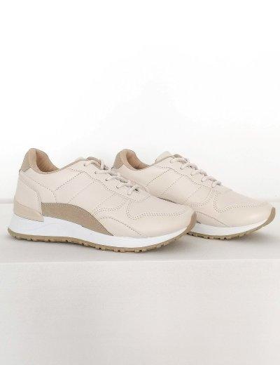 Γυναικεία μπεζ Casual Sneakers διχρωμία 612130A