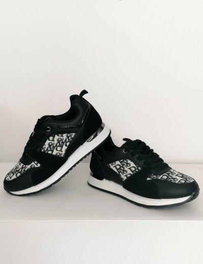Γυναικεία μαύρα Casual Sneakers δερματίνη RA06W