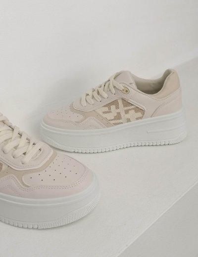 Γυναικεία μπεζ δίσολα Casual Sneakers 202320B