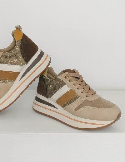 Γυναικεία μπεζ δίσολα casual sneakers BO835