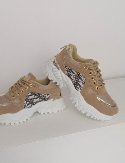Γυναικεία μπεζ αθλητικά sneakers B53