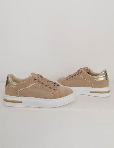Γυναικεία μπεζ casual sneakers BO692