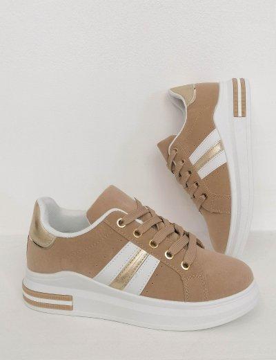 Γυναικεία μπεζ casual sneakers BO818