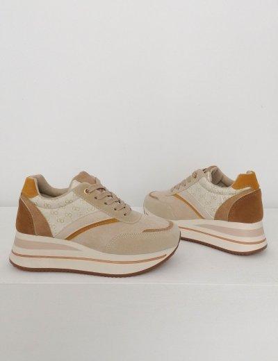 Γυναικεία μπεζ σουεντ δίσολα Casual Sneakers 302578E