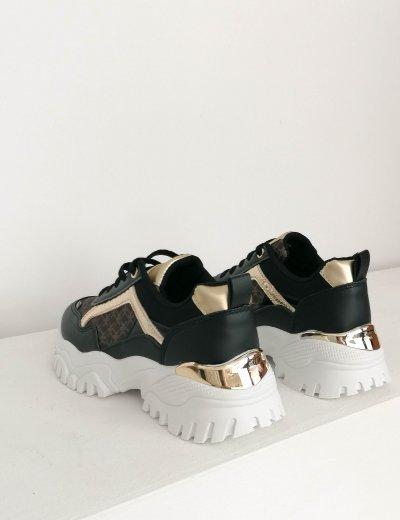 Γυναικεία μαύρο αθλητικά sneakers 19318M