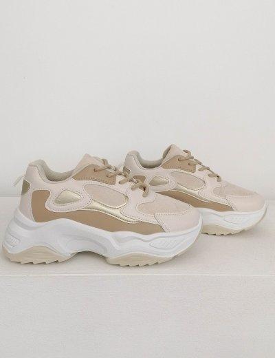 Γυναικεία μπεζ αθλητικά δίσολα sneakers 6169B