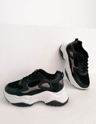 Γυναικεία μαύρα αθλητικά δίσολα sneakers 6169