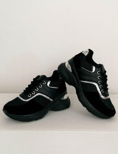 Γυναικεία μαύρα αθλητικά δίσολα Sneakers 2838