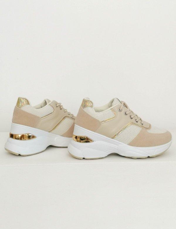 Γυναικεία μπεζ αθλητικά δίσολα Sneakers 2838V