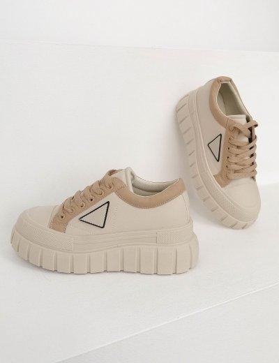Γυναικεία μπεζ δίσολα Casual Sneakers 412412