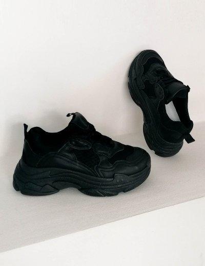 Γυναικεία μαύρα αθλητικά δίσολα Sneakers B400Z