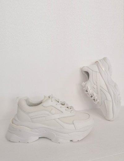 Γυναικεία λευκά αθλητικά δίσολα Sneakers 2516Z