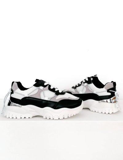 Γυναικεία ασπρόμαυρα δίσολα Sneakers με λάστιχο 5312