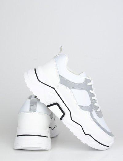 Γυναικεία λευκά δίσολα Sneakers διχρωμία BH002W