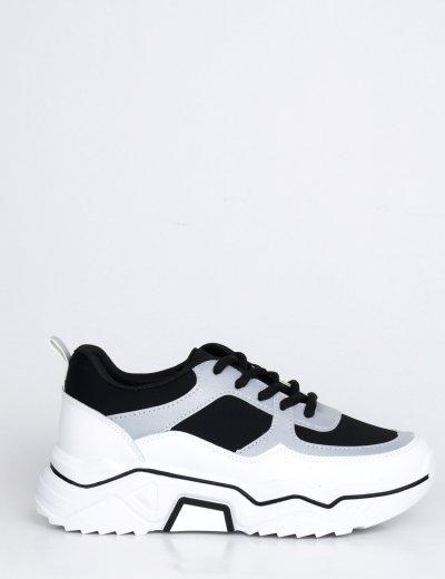 Γυναικεία μαύρα δίσολα Sneakers διχρωμία BH002