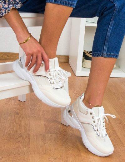Γυναικεία εκρού αθλητικά δίσολα Sneakers 2838W