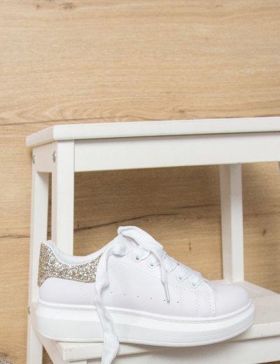Γυναικεία λευκά δίσολα Sneakers ασημί χρυσά glitter M623Q