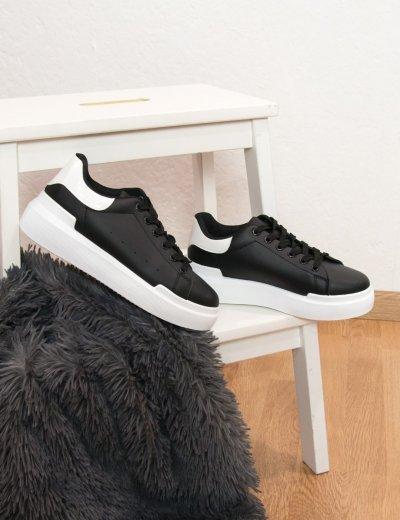 Γυναικεία μαύρα Sneakers με λευκό κροκό διχρωμία GB011