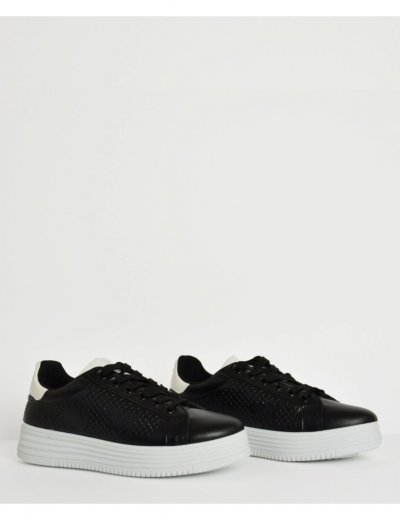Γυναικεία Sneakers δερματίνη μαύρα διάτρητο σχέδιο 51111