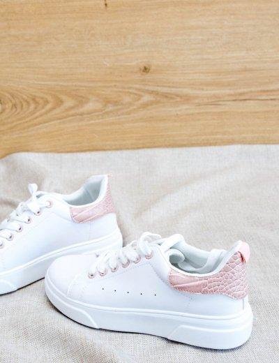 Γυναικεία λευκά Sneakers με ροζ κροκό διχρωμία LG32