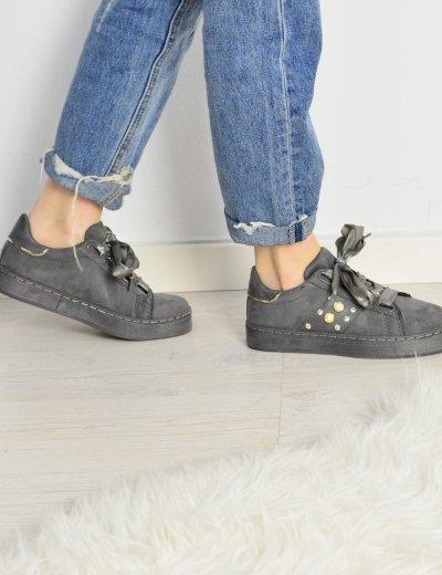 Γυναικεία Sneakers Suede με σατέν κορδόνια γκρι AD781G
