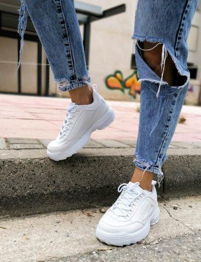 Γυναικεία λευκά αθλητικά παπούτσια τρακτερωτή σόλα 5022