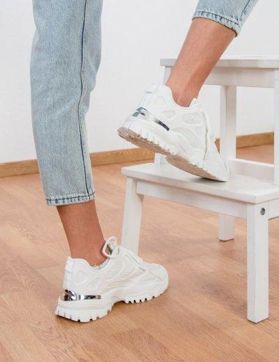 Γυναικεία λευκά αθλητικά δίσολα Sneakers με σχέδια 5310A