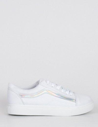 Γυναικεία λευκό ασημί πάνινα Sneakers με διχρωμία M622C