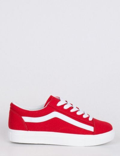 Γυναικεία κόκκινα πάνινα Sneakers με διχρωμία M622B