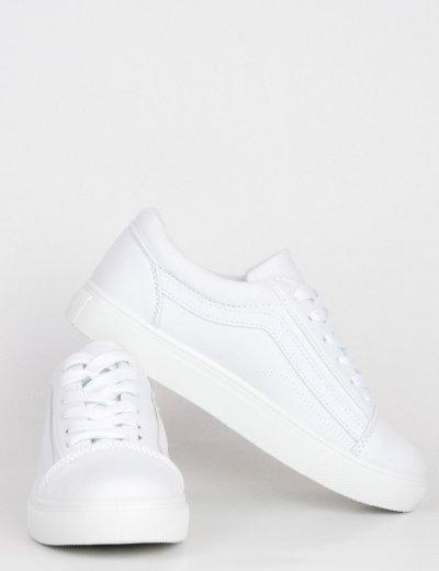 Γυναικεία λευκά πάνινα Sneakers με διχρωμία M622Z