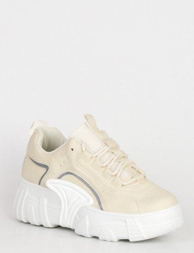 Γυναικεία μπεζ δίσολα Sneakers με τρακτερωτή σόλα LA39