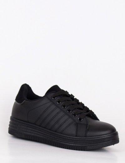 Γυναικεία μαύρα Casual Sneakers με σουέντ λεπτομέρεια 18-9D