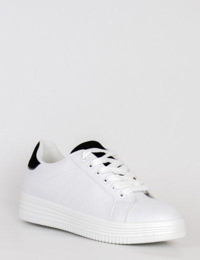 Γυναικεία λευκά Casual Sneakers με μαύρη διχρωμία και κορδόνια 18-9Q