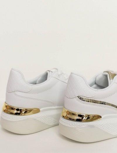 Γυναικεία λευκά δίσολα Sneakers με σχέδιο 88239G